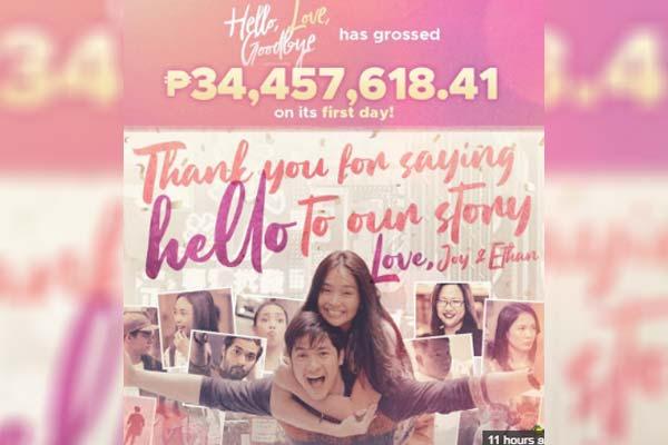 Kita ng 'Hello, Love, Goodbye' sa opening day, umabot sa P34-M