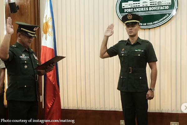 Matteo Guidicelli, promoted bilang 2nd lieutenant ng Philippine Army