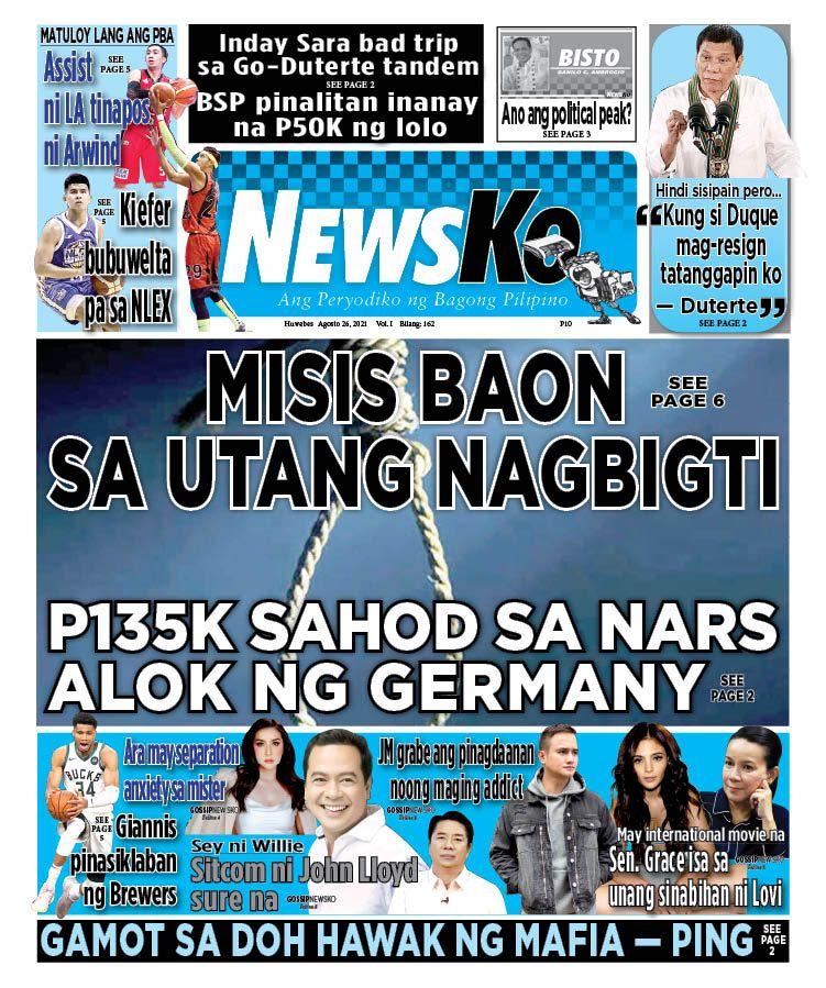 NewsKo, ang peryodiko ng bagong Pilipino isyu ngayon   26 Agosto 2021