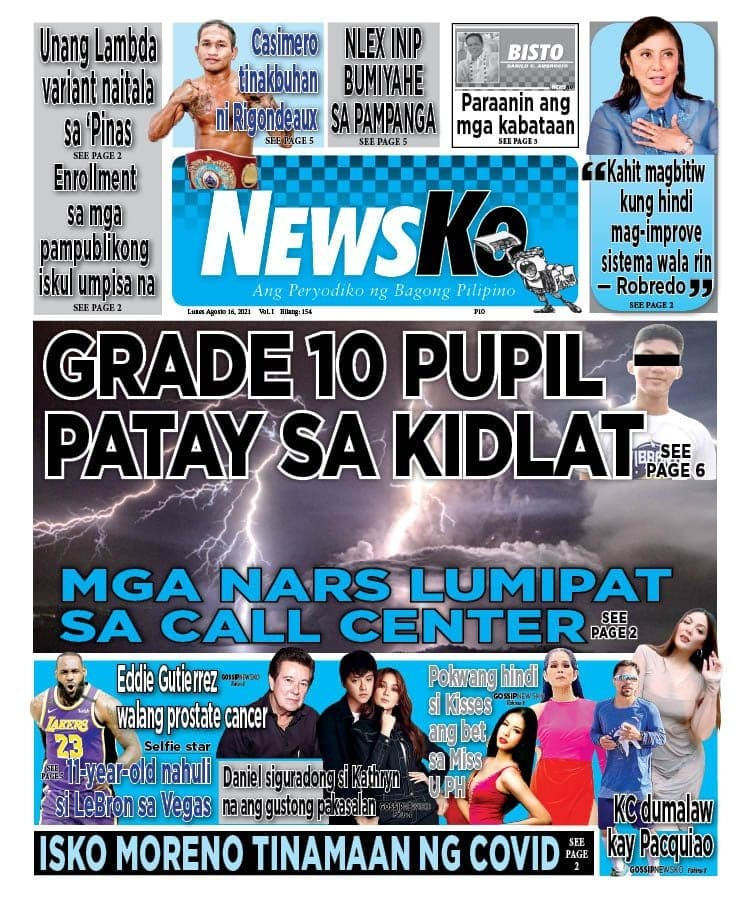 NewsKo, ang peryodiko ng bagong Pilipino isyu ngayon   16 Agosto 2021