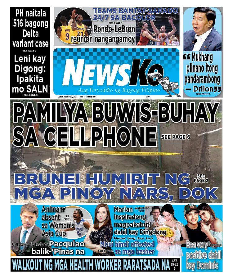 NewsKo, ang peryodiko ng bagong Pilipino isyu ngayon   30 Agosto 2021