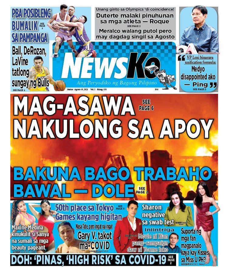 NewsKo, ang peryodiko ng bagong Pilipino isyu ngayon   10 Agosto 2021