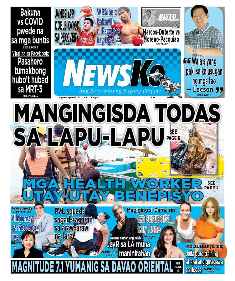 NewsKo, ang peryodiko ng bagong Pilipino isyu ngayon   13 Agosto 2021