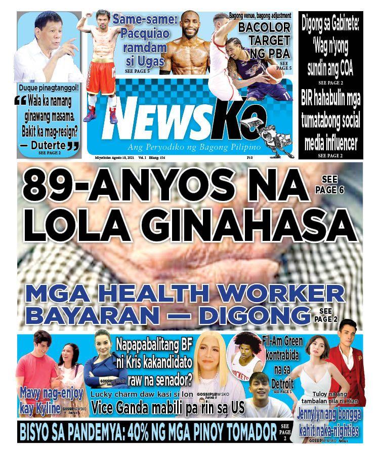 NewsKo, ang peryodiko ng bagong Pilipino isyu ngayon   18 Agosto 2021