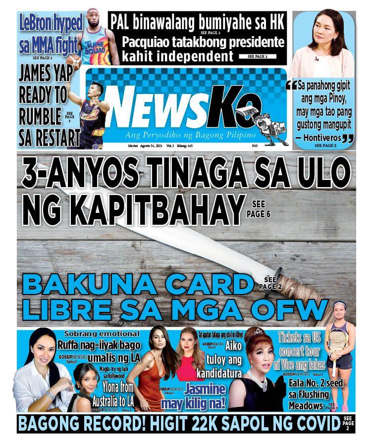NewsKo, ang peryodiko ng bagong Pilipino isyu ngayon   31 Agosto 2021