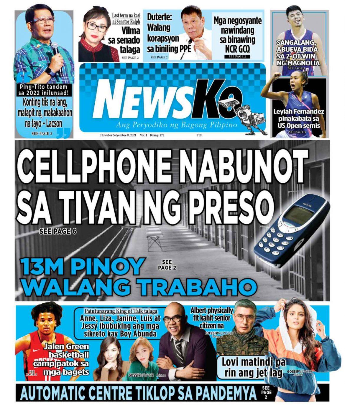 NewsKo, ang peryodiko ng bagong Pilipino isyu ngayon   9 Setyembre 2021