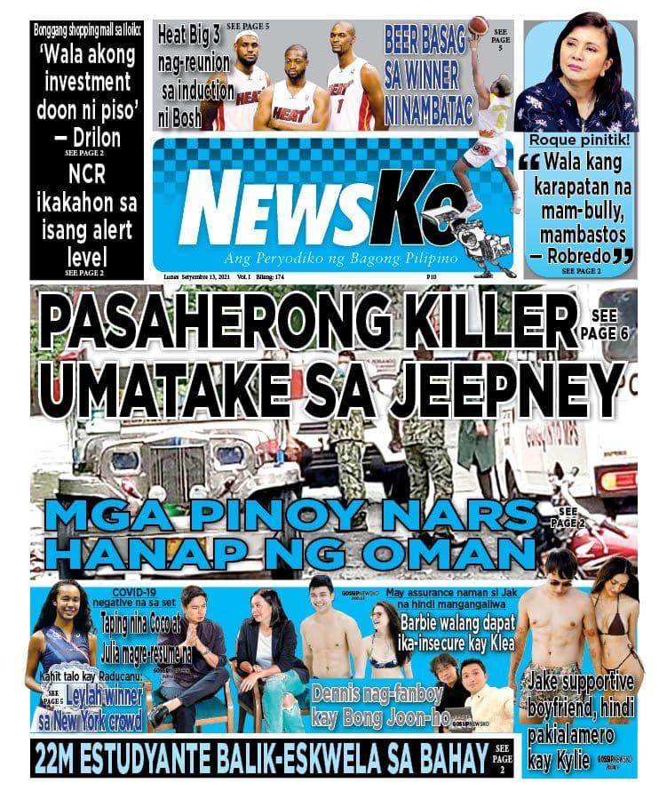 NewsKo, ang peryodiko ng bagong Pilipino isyu ngayon   13 Setyembre 2021