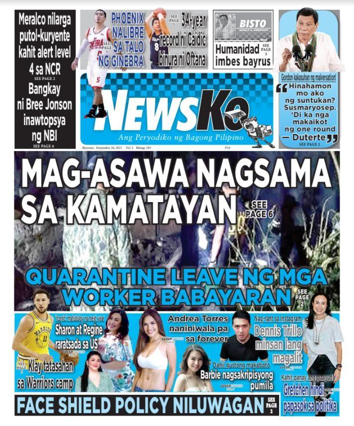 NewsKo, ang peryodiko ng bagong Pilipino isyu ngayon   24 Setyembre 2021