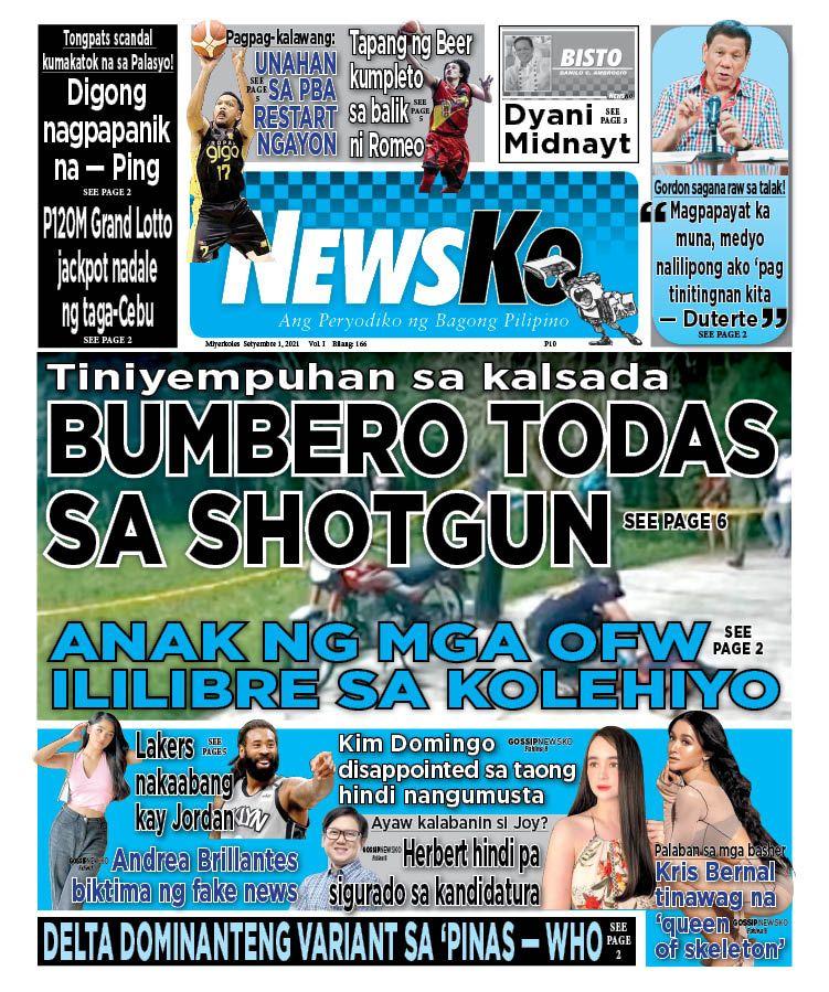 NewsKo, ang peryodiko ng bagong Pilipino isyu ngayon   1 Setyembre 2021