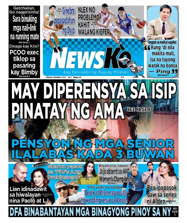 NewsKo, ang peryodiko ng bagong Pilipino isyu ngayon   3 Setyembre 2021