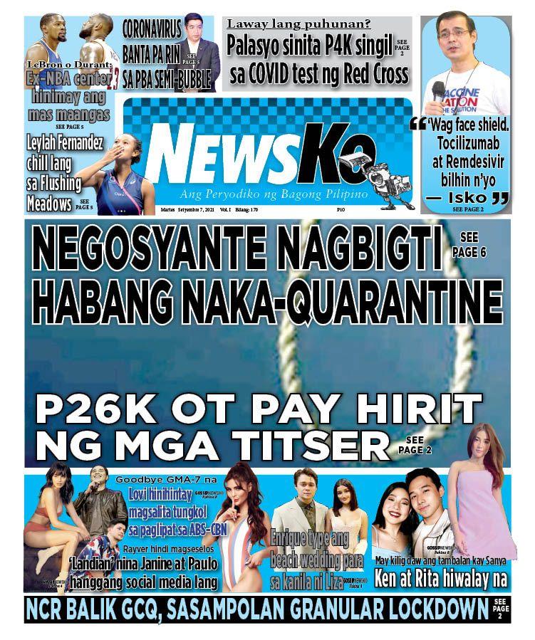 NewsKo, ang peryodiko ng bagong Pilipino isyu ngayon   7 Setyembre 2021