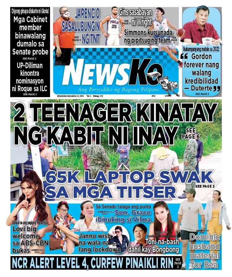 NewsKo, ang peryodiko ng bagong Pilipino isyu ngayon   15 Setyembre 2021