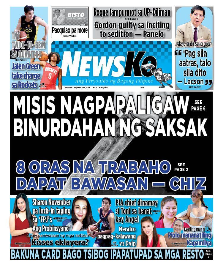 NewsKo, ang peryodiko ng bagong Pilipino isyu ngayon   16 Setyembre 2021
