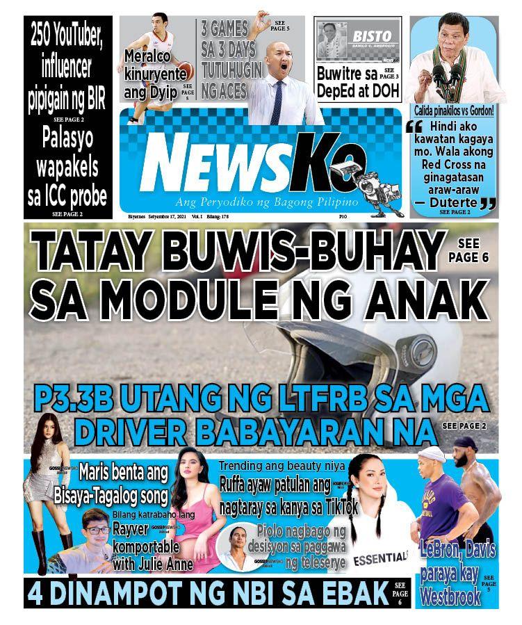 NewsKo, ang peryodiko ng bagong Pilipino isyu ngayon   17 Setyembre 2021