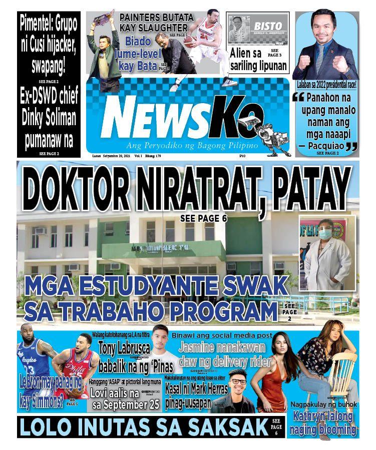 NewsKo, ang peryodiko ng bagong Pilipino isyu ngayon   20 Setyembre 2021