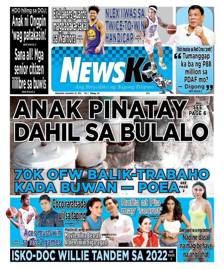 NewsKo, ang peryodiko ng bagong Pilipino isyu ngayon   22 Setyembre 2021