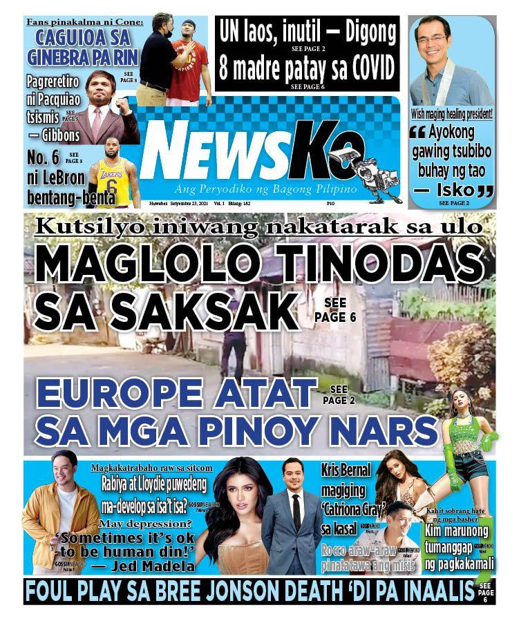 NewsKo, ang peryodiko ng bagong Pilipino isyu ngayon   23 Setyembre 2021
